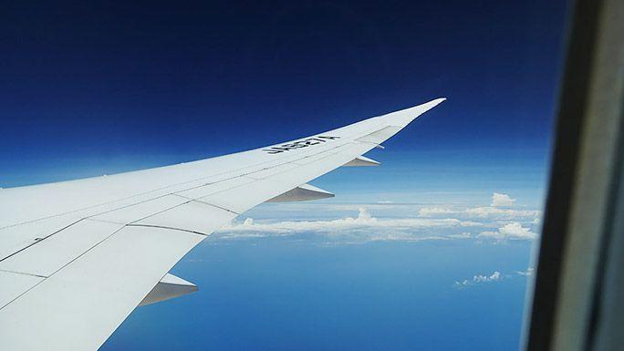 窓から見た飛行機の片翼