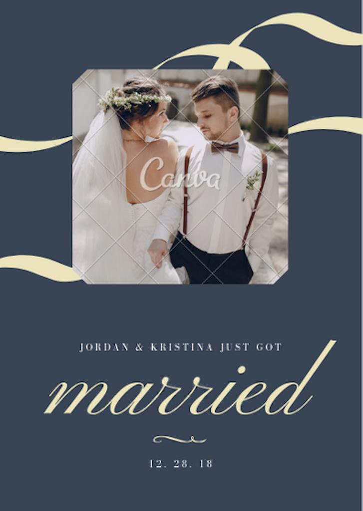 Canvaの「結婚報告」のテンプレート
