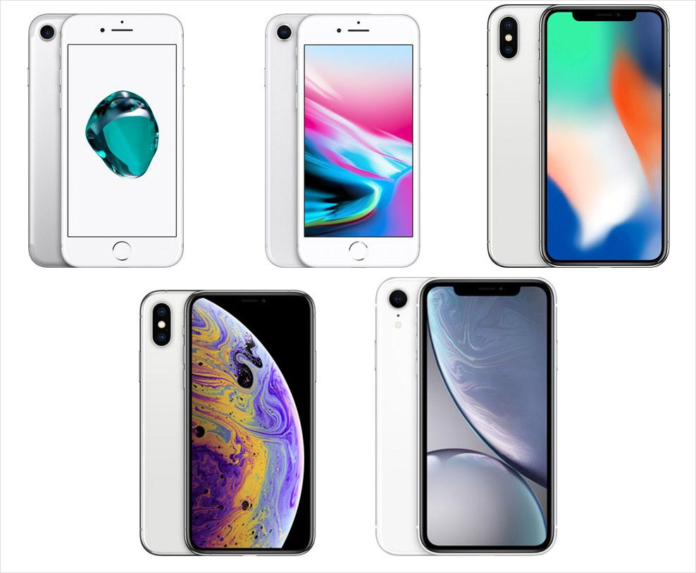 上段左からiPhone 7、iPhone 8、iPhone X、下段左からiPhone XS、iPhone XR