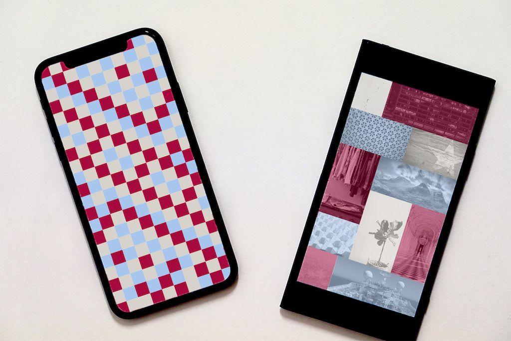 INFOBAR壁紙を設定したiPhoneとAndroidスマホ