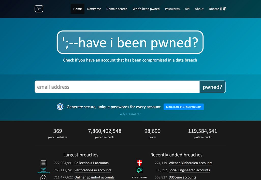 「Have I Been Pwned」のトップ画面