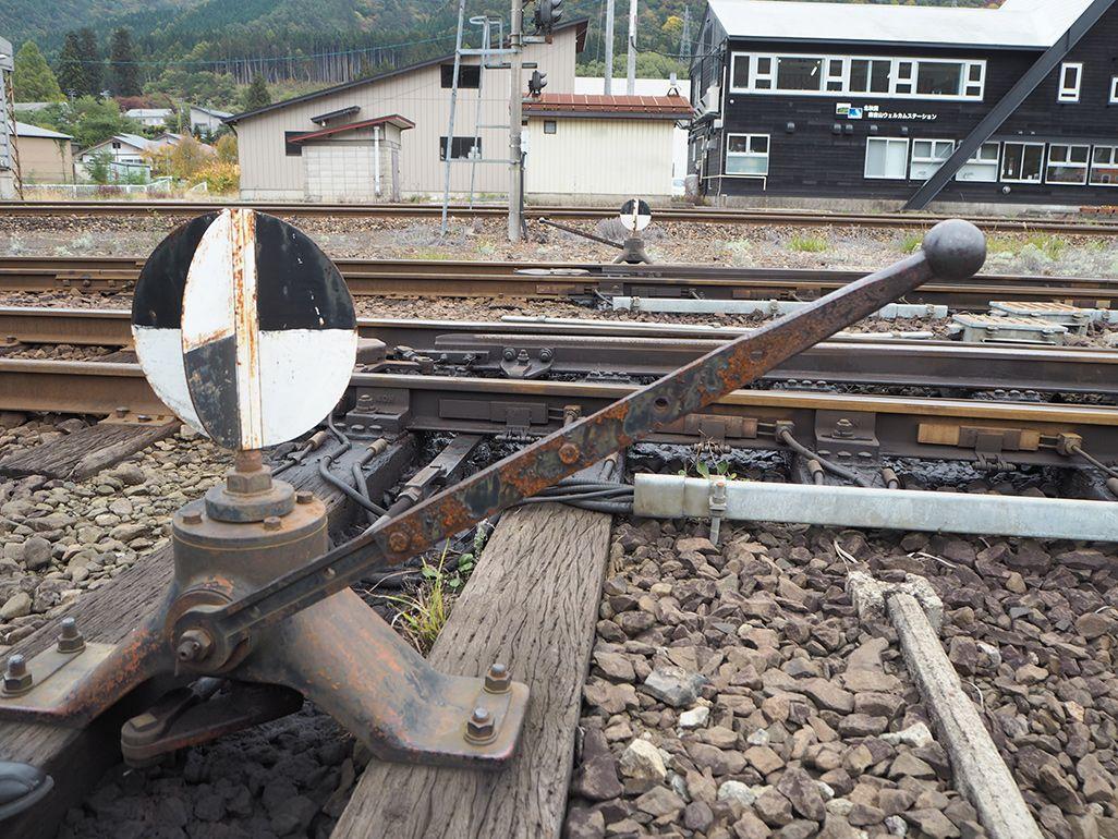 秋田内陸縦貫鉄道の手動式の転てつ器