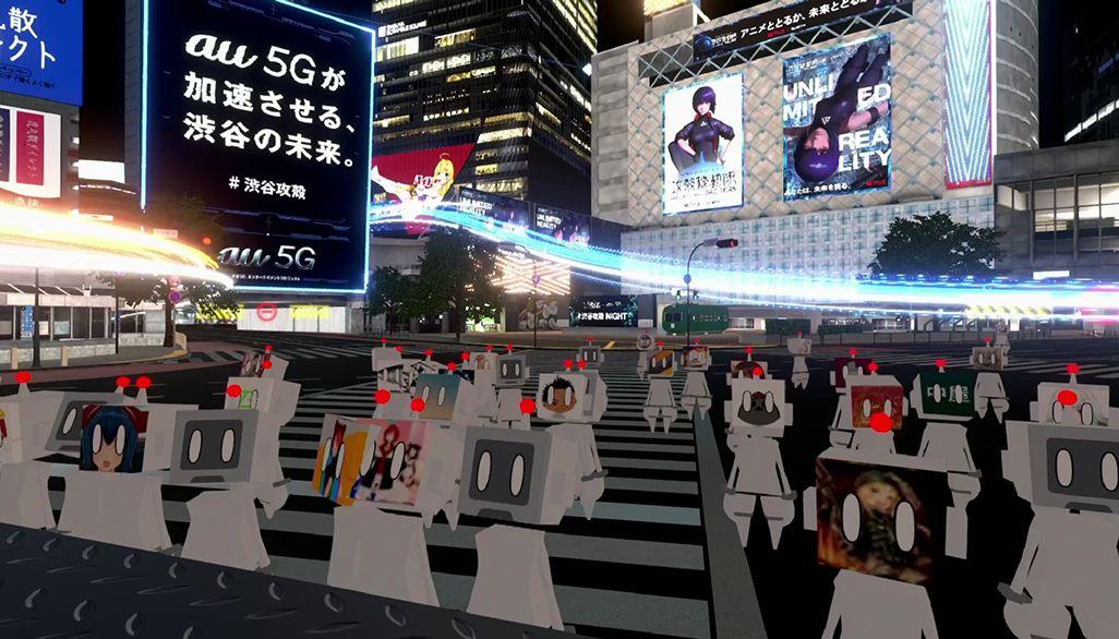 バーチャル渋谷でのイベントに参加した人々のアバター