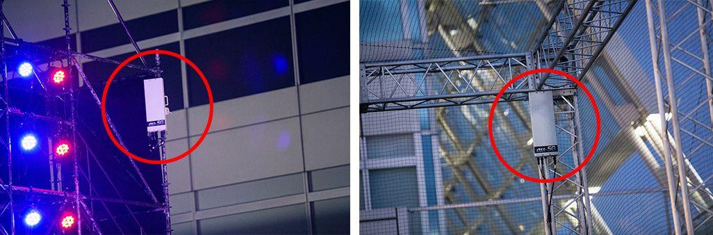 「DTRC2019」の会場に設置された5Gアンテナ