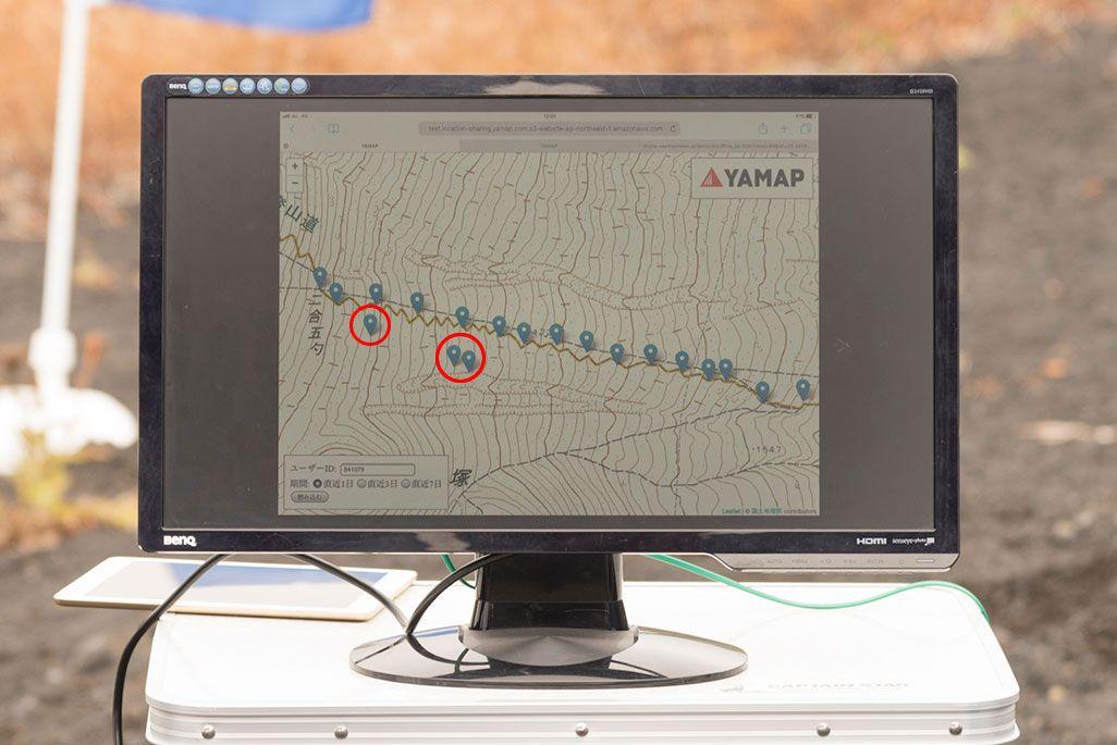 YAMAPの登山者の足跡を表したディスプレイ