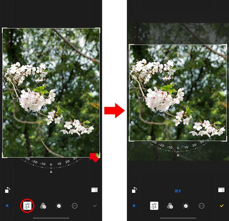 iPhone 写真加工「トリミング」