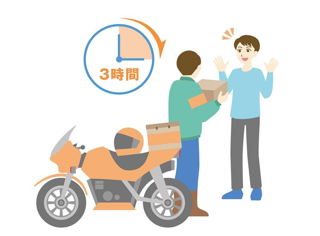 au故障紛失サポートアプリの交換用携帯電話機お届けサービスの3時間特急便