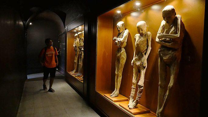 博物館にて展示されているミイラを見つめる地主