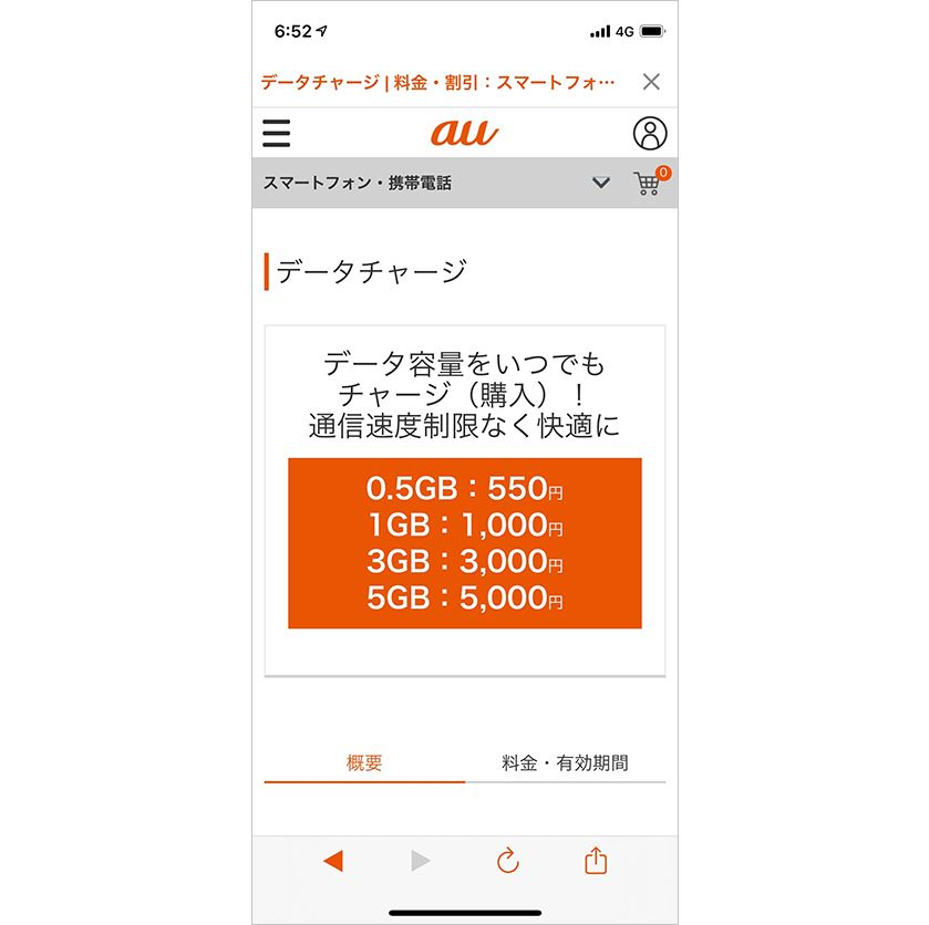 「au PAY」アプリのデータチャージ画面