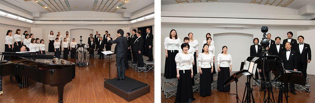 東京混声合唱団による音のVR収録の模様