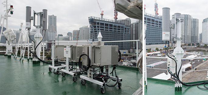 KDDIの災害対策公開訓練にて、設営した船舶型基地局