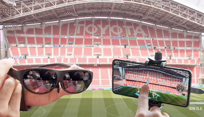 名古屋グランパスをARグラスで観戦! au 5Gで選手データ表示やマルチ視点体験
