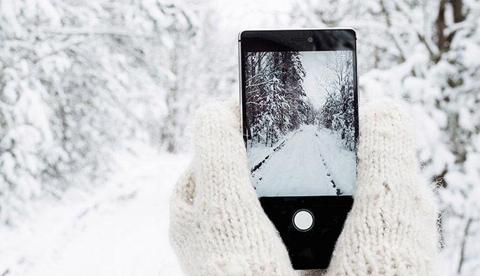 スマホ 雪 冬