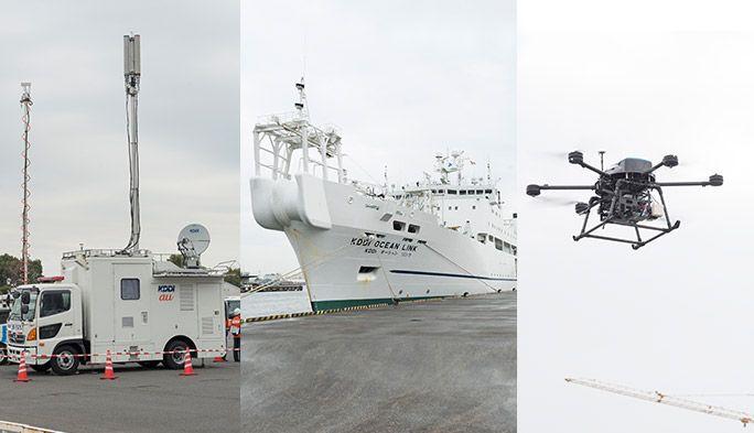 ドローンで被災者を捜索 「陸海空」から通信を復旧するKDDIの災害対策に密着