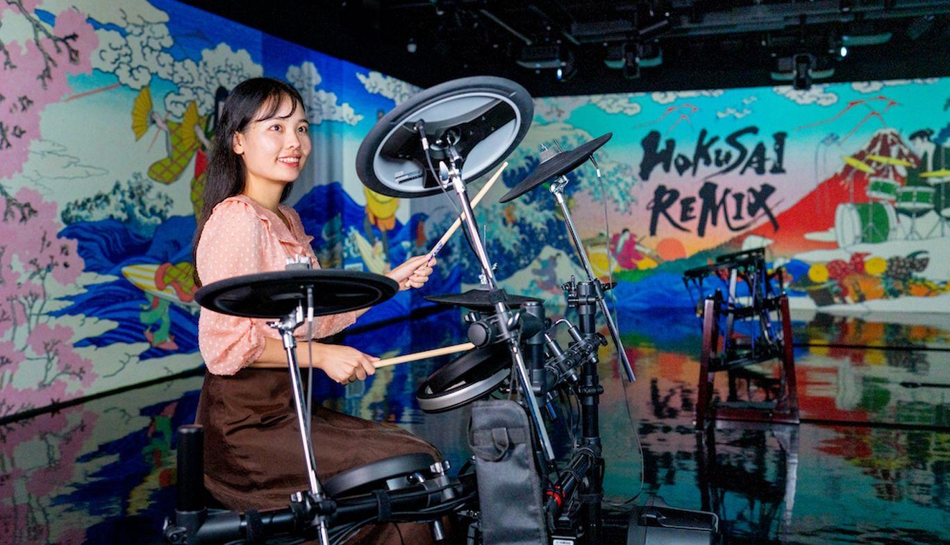 ドラムを叩いて葛飾北斎の浮世絵世界へ!GINZA 456で体験型アート展「HOKUSAI REMIX」を開催